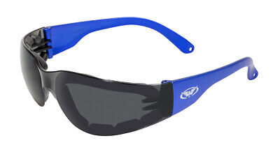 Z87 Blue Padded Motorcycle Glasses Sunglasses Strap Included Baseball (Volleyball Sunglasses)