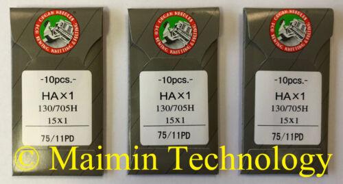 30 75/11 SHARP ORGAN TITANIUM FLAT SHANK 15X1 HAX1 HOME SEWING MACHINE NEEDLES