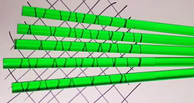 5 Green 12 Diameter X 12 Inch Long Clear Translucent Acrylic Plexiglass Rod
