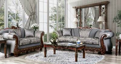 Old World Living Room Furniture Brown Wood Trim & Gray Fabric Sofa Couch Set RCV