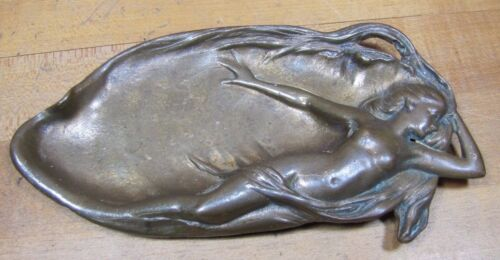 Antique Art Nouveau NUDE MAIDEN MERMAID Decorative Art Tray Bronze Brass Ornate