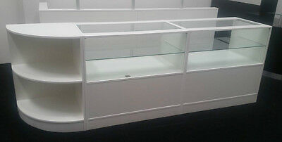 Shop counter ,white counters SET of 3 Cabinets,shop dispaly glass counters,new