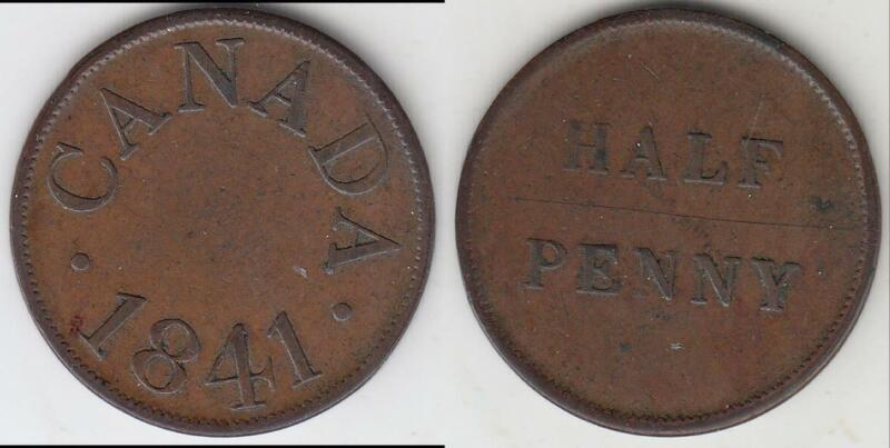 JUST REDUCED!! 1841 LOWER CANADA HALF PENNY TOKEN VF-XF