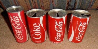 4 Diff  Vintage   Rare Coca Cola Foreign Very Old Soda Can Lot Asia Singapore