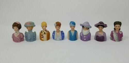 VTG 1980s Lot 8 Avon Porcelain Victorian Flapper Ladies Thimble Figurines Figure