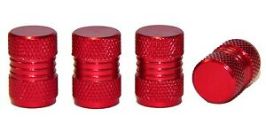4 x Red Metal Tyre Valve Dust Caps - Cars, Motorbikes, Bikes, Vans