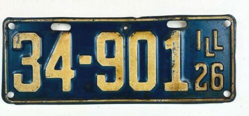 Illinois 1926 Vintage License Plate Antique Car Tag Shorty Model T Man Cave Gift