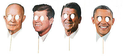 Modern Day Presidents Masks 4 Pack Stick Prop JFK Reagan Eisenhower Obama](Jfk Mask)