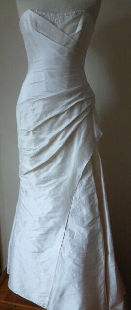 Suzanne Neville London Ivory Satin Fishtail size 12 Wedding Dress ...