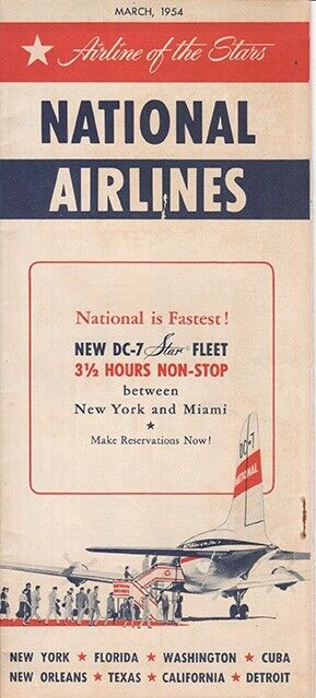 National Airlines timetable 1954/MAR