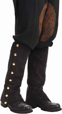 Steampunk Black Spats Boot Leg Covers Costume Adult Prop Victorian Cosplay