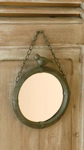 Small 6 5 vintage french country farmhouse hanging bird for Small hanging mirror