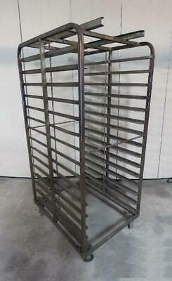 15 Shelf Stainless Steel Double Sheet Pan Side Load Rack Cart Tray Bun Tier