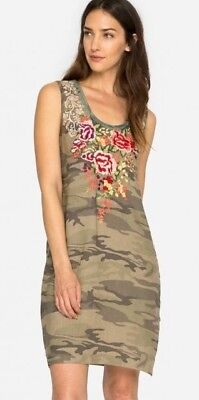 NWT JOHNNY WAS ADELINE EMBROIDERED CAMO TANK DRESS TUNIC LINEN SZ M