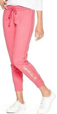 NEW Womens GAP LOGO Sweat Pants Lounge Fleece Sweatpants Pink Cropped Joggers