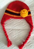 Calgary Flames Team Color Beautiful Baby Hat with Flower