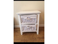White/cream shabby chic drawers bedside table