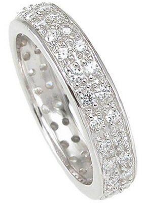 2C ETERNITY RING WEDDING BAND WOMENS PLATINUM ep DIAMOND simulated SIZE 5