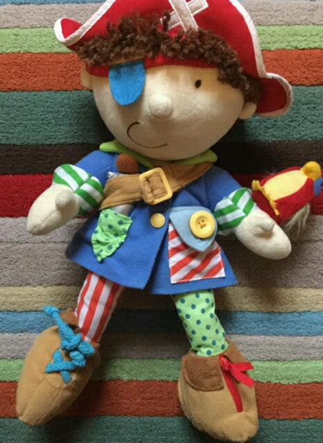 Nautical Pirate soft toy with different fastenings