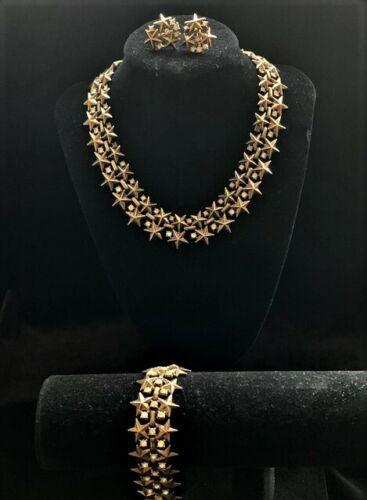 VTG Signed CROWN TRIFARI STARS Rhinestone Parure Set Necklace Bracelet Earrings