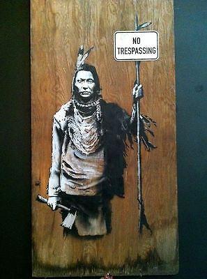 Banksy No Trespassing Indian graffiti street art on Canvas ACEO Mr. Brainwash