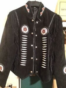 3 ladies black rawhide beaded jackets
