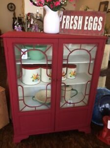 Up-styled Country Chic China Cabinet / Bookcase
