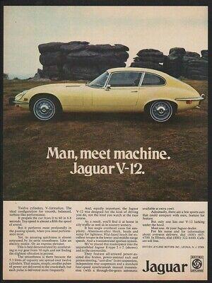 1973 Yellow JAGUAR V-12 Sports Car VINTAGE AD