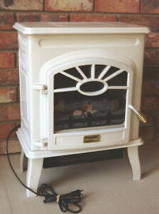 White Electric Fireplace Antique Style w/door & legs.