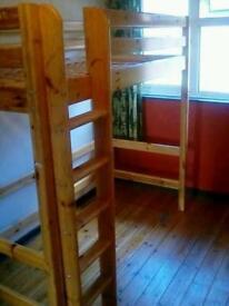 Flexa Scandinavian kids wooden high sleeper single cabin bed toddler