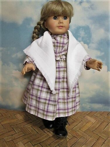 American Girl Kirsten Handmade Reproduction of Plaid Dress Outfit Fringed Shawl