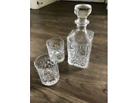 Crystal whisky decanter with two crystal glasses