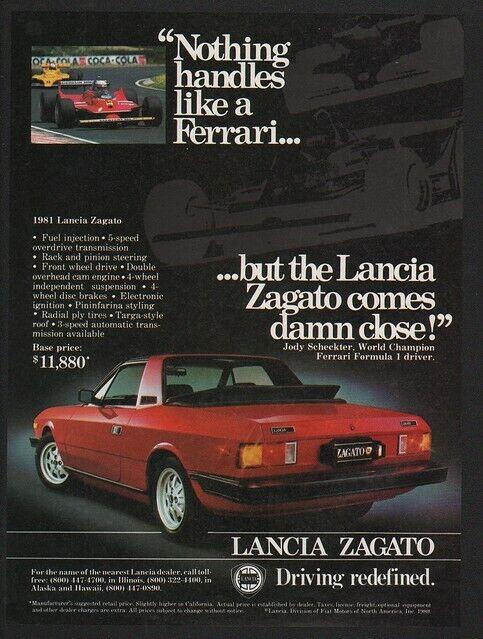 1981 LANCIA ZAGATO Red Sports Car JODY SCHECKTER - FERRARI VS. LANCIA VINTAGE AD