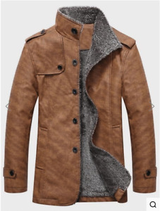 BRAND NEW Faux Leather Single Breasted designer coat Warm Fleecy
