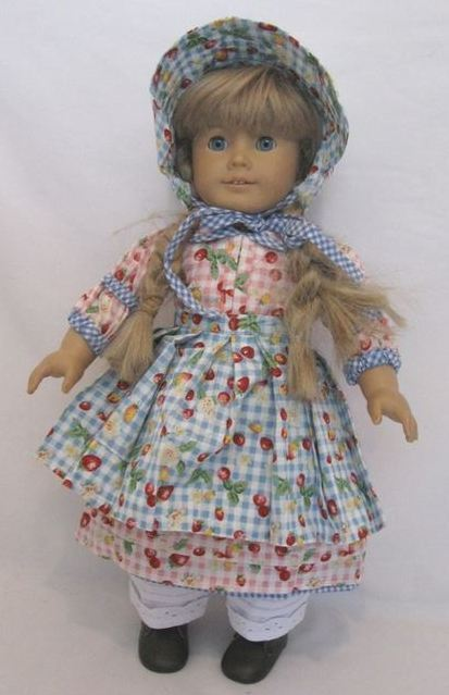 "Lovvbugg Berry Pickin' Dress Apron Hat for 18"" American Girl Kirsten Doll Clothes"