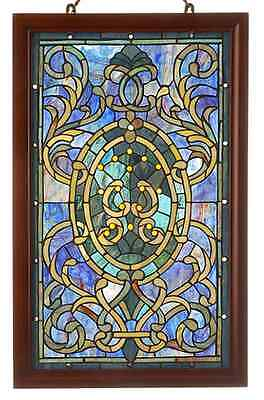 Stained Glass Window Panel Suncatcher Tiffany Style With Victorian Wooden Frame