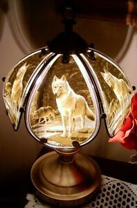 Collectible Wolf lamp  Tri light touch lamp