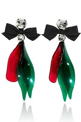 STUNNING MARNI AT H&M FASHION STATEMENT CLIP-ON EARRINGS. RED,GREEN.IN BOX