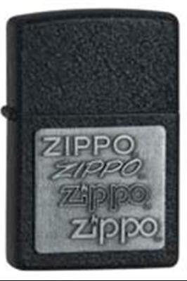 Zippo Pewter Emblem Black Crackle - Zippo 363 pewter emblem black crackle lighter