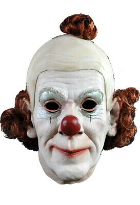 Circus Clown Mask Realistic Looking Male White Face Latex Clown Mask W/ Hair