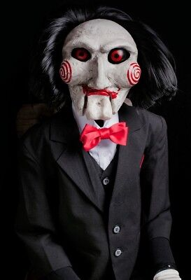 Saw Billy Puppet Prop  Replica by Trick or Treat Studios Jigsaw Halloween Prop](Studio Halloween Props)