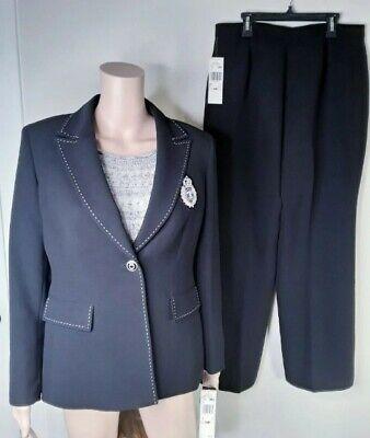 Kasper Womens 10P Navy Blue 2 Piece Pant Suit NWT MSRP $320