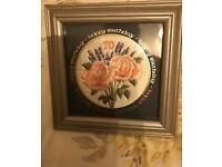 Antique handmade 70th birthday embroidery keepsake in frame