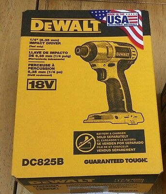 New DEWALT DC825B 1/4-Inch (6.35mm) 18-Volt Cordless Impact Driver (Tool Only)