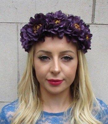Dark Purple Rose Flower Headband Festival Boho Hair Crown Garland Halloween 6149
