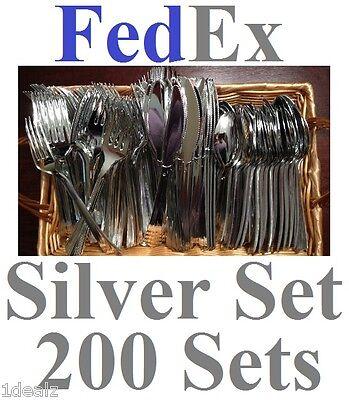 200 Set Plastic Silver Fork Knife Spoon Cutlery Silverware Fedex 600 Pieces