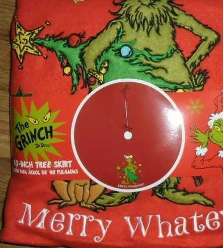 """THE GRINCH WHO STOLE CHRISTMAS MERRY WHATEVER 48"""" CHRISTMAS TREE SKIRT NEW!"""
