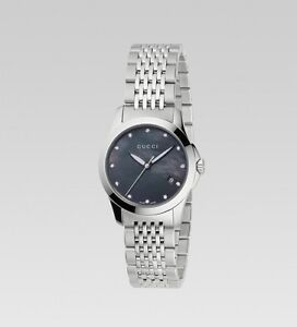 Gucci women's watch w/ diamonds and black mother-of-pearl