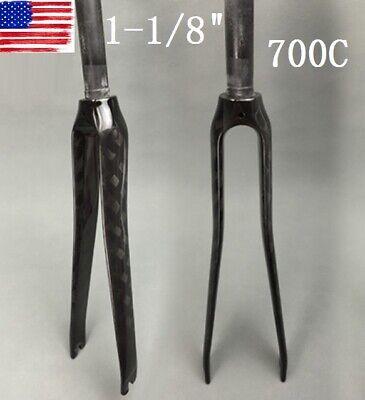 """EC90 Road Bike Rigid Fork 1-1//8/"""" Threadless Carbon Fiber 700C Bicycle Forks US"""