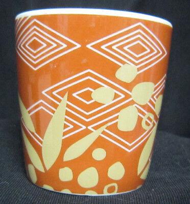 2013 Starbucks 3 oz Ceramic Espresso Shot Glass Brown with Leaves and Diamonds